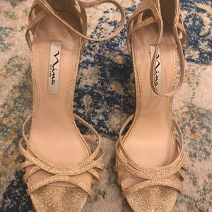 Shoes - Gold sandals. Back zipper.